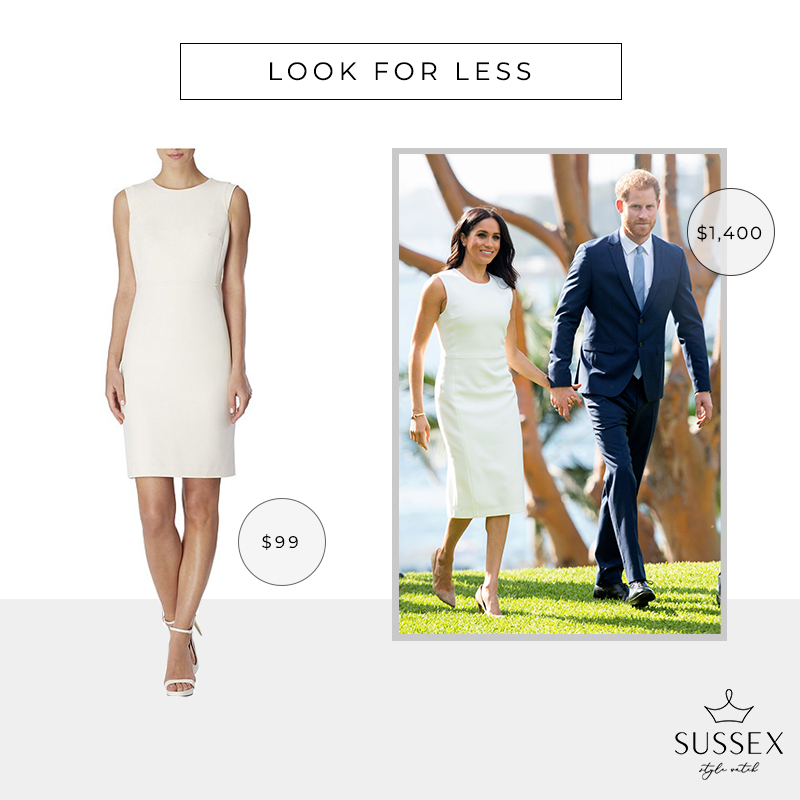 LOOK FOR LESS: MEGHAN MARKLE'S KAREN GEE 'BLESSED' WHITE SHEATH DRESS