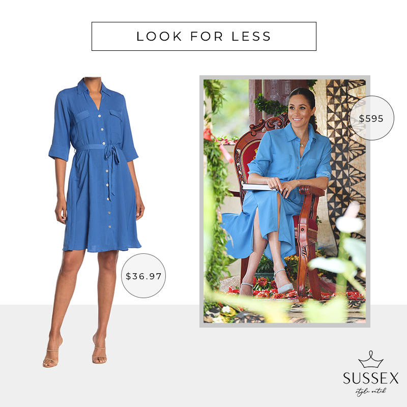 LOOK FOR LESS: MEGHAN MARKLE'S BLUE VERONICA BEARD SHIRT DRESS