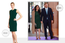 MEGHAN MARKLE'S ENGAGEMENT ANNOUNCEMENT GREEN PAROSH DRESS FOR LESS