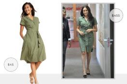 LOOK FOR LESS: MEGHAN MARKLE'S ROOM 502 GREEN SHIRTDRESS