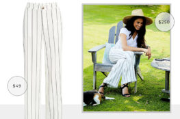 LOOK FOR LESS: MEGHAN MARKLE'S ANINE BING WHITE STRIPED RYAN PANTS